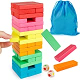Coogam Wooden Blocks Stacking Game With Storage Bag, Colorful Toppling Tower Building Blocks Balancing Puzzles Toys Learning