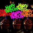 24 Pieces Glow Neon Happy Birthday Cake Toppers for Neon Birthday Party Wedding Decoration Black Light Reactive Party