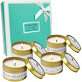 LA BELLEFÉE Scented Candle Soy Wax Travel Tin Aromatherapy Candles Gift Set for Wedding, Festival - Lemongrass Bergamot, Sea