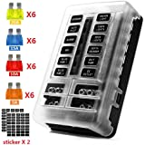 12-Way 12V Blade Fuse Block, 12 Volt Automotive Fuse Box Holder Waterproof with Negative Bus 5A 10A 15A 20A Fuse Panel LED In