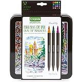 CRAYOLA 58-6501 Signature Brush & Detail Dual Tip Markers,16pk, 32 Colours, Brush Tip, Pen Tip, Calligraphy Set, Lettering, D