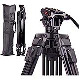 Regetek 72インチビデオカメラ三脚システム、キヤノンニコンDVカムコーダーDSLRフォトスタジオ用の流体なべ頭とキャリーバッグを備えたプロフェッショナルヘビーデューティアルミニウム調整可能写真三脚スタンド