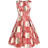 FUHUANDA Women's 1950s Vintage Cocktail Dresses Round Neck Sleeveless Floral Print Flare Skirt Party A-Line Dress