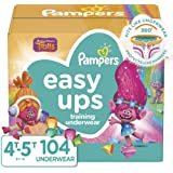 Pampers Easy Ups Pull On Disposable Potty Training Underwear for Girls, Size 5 (4T-5T), 104 Count, ONE MONTH SUPPLY
