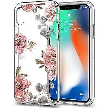 【Spigen】 スマホケース iPhone X ケース かわいい 花柄 薄型 軽量 リキッド・クリスタル 057CS22623 (アクアレール・ローズ)