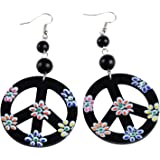 Hippie Colorful Love Peace Sign Drop Dangle Earrings 60s 70s for Women Christmas Party Favors Costume Accessories