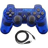 Aoityle PS3対応 ワイヤレスコントローラー 互換 USB ケーブル付属 (透明な青)