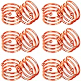 Napkin Ring, 6/12 Pcs Metal Napkin Buckle Holder for Wedding Party Dinner Table Decoration (12 PCS-Spiral,Rose Gold)