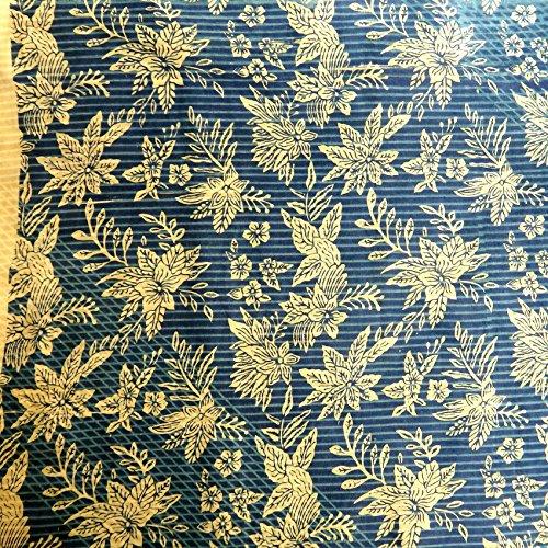 Pajung Prijaji インドネシア バティック ジャワ更紗(プリント) 花のモチーフ パターン4 ブルー [並行輸入品]