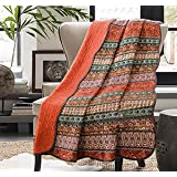 Cozyholy Original Design Coverlets Quilted Blanket 100% Cotton Bed Cover Quilt Throw for Twin/Full/Queen Bed, Orange, Full-Qu