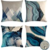VIGVOG Waterproof Throw Pillow Covers Decorative Floral Printed Cushion Cover Outdoor Indoor Pillow Case 18 X 18 Inch Set of