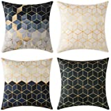 Woaboy Set of 4 Cotten Linen Pillow Cover Prismatic Square Printed Pillowcase Square Decorative Cushion Cover Soft for Car So