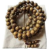 HAPPEACE 8mm Natural Fragrant Green Sandalwood 108 Mala Meditation Beads - Tibetan Buddhism Prayer Beads