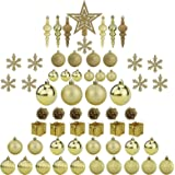 Sunnyglade 60ct Gold Christmas Tree Ball Ornaments Set Shatterproof Christmas Bling-Bling Hanging Decoration with Hand-held G