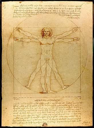 絵画風 壁紙ポスター (はがせるシール式) レオナルド・ダ・ヴィンチ ウィトルウィウス的人体図 プロポーションの法則 人体の調和 1487年 キャラクロ K-DVC-001S2 (436mm×594mm) 建築用壁紙+耐候性塗料