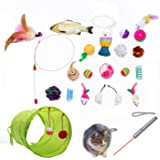Cat Toys AKAT, 21 Kitten Toy Assortments, 2 Way Tunnel, Laser Red Light Pointer, Catnip Fish, Cat Feather Teaser - Wand Inter
