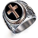 Kebaner Men's Black & Silver Stainless Steel Christian Cross Ring Cool Band Size 7-13