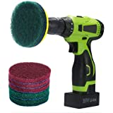 Kichwit 4 Inch Drill Power Brush Scrubber Scouring Pads, Includes Drill Attachment, 3 Red Pads and 3 Stiff Green Pads, Heavy