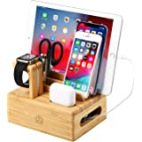 epzoee 8 in 1 充電スタンド 7台同時充電分解できる卓上コードまとめる ケーブル収納ボックス スマホ充電台 (竹木製)