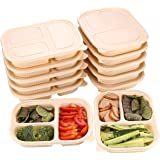 MONICA Eco-Friendly Meal Prep Containers 3 Compartment 10Pack Biodegradable Disposable Cornstarch Lunch Box 33oz Heavy Duty C