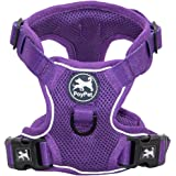 PoyPet Reflective Soft Breathable Mesh Dog Harness No Pull & No Choke Double Padded Vest Adjustable(Purple,M)