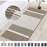 Turquoize Bath Rug Runner Chenille Bath Rugs for Bathroom Stripe Pattern Absorbent Bathroom Floor Mat Non Slip Bathroom Rug B
