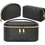 Makeup Bag 3 Pcs waterproof Cosmetic Bag Portable Travel Cosmetic Bag Weave Organizer storage bag, black, M,