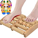 ALINK Dual Foot Massager Roller, Relieve Plantar Fasciitis, Heel, Aches and Pains, Wooden Acupressure Massage Tool Upgraded L