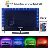 JR Led Strip Lights 6.56ft for 40-60in TV USB Backlight Kit with Remote, 16 Color 5050 TV LED Backlight Color Changing RGB LE