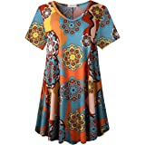 LARACE Tunics Short Sleeve Plus Size Casual Tops for Women V Neck Loose Fit Flowy Clothing for Leggings