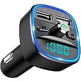 Cocoda FMトランスミッター Bluetooth 音楽再生 とらんすみったー Bluetooth 2つ充電ポート付き (5V/2.4A & 1A) 車載充電器 バッテリー電圧測定 青いライト付き ハンズフリー通話 Siri&Google Ass