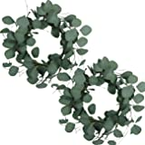 idyllic Eucalyptus Leaves Wreath Metal Polyester Fabric Paper Round Green Wreath 16 Inches for The Front Door Décor, 2 Packs