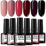 TOMICCA Gel Nail Polish Set 6 Colour Collection, Soak Off UV LED (D)