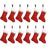 "HOOPE 12 Pcs Christmas Stockings 15"" Xmas Fireplace Socks Candy Gift Bag Santa Christmas Tree Hanging Decoration,Classic Red"