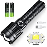 LED Tactical Flashlight,USB Rechargeable Super Bright Torch 5000 Lumens ,3 Modes and Zoomable, IP67 Waterproof, Powered by 18