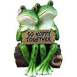 "Happy Frog Couple ""So Hoppy Together"" Fun Decor Figurine By DWK Valentine Romantic Couple Cute Amphibians"