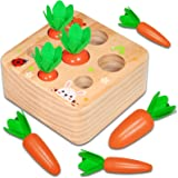 Hamsoo Montessori Toys for Toddlers Age 1-3, Carrot Harvest Shaped & Size Matching Game Fine Motor Skill Wooden Toys for 1 2