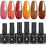 Senvenski Gel Nail Polish Pink Red Orange Coral Pumpkin Color Soak Off UV LED Manicure Art Varnish Gift Set Kit Multicolour 6