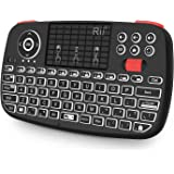 Rii i4 Mini Bluetooth Keyboard with Touchpad, Blacklit Portable Wireless Keyboard with 2.4G USB Dongle for Smartphones, PC, T