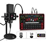Audio Mixer with Sound Card, tenlamp Portable All-in-one podcast production studio with XLR to 3.5mm Studio Microphone, G3 Vo