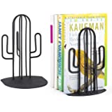 Alsonerbay Bookends Geometric Decorative Metal Book Stoppers Abstract Creative Book Supports Desktop Decor Cactus Book Stand
