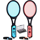 Tennis Racket for Nintendo Switch Joy-Con Controllers, Tendak Game Grip for Mario Tennis Aces with 12 in 1 Game Card Case (2
