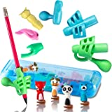 Pencil Grips for Kids writing. Handwriting aid, posture correction, pen holder (13 pcs) (Blue)