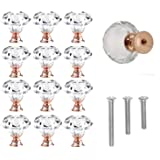 12 Pack 30mm Rose Gold Cabinet Knobs Drawer Pulls Drawer Knobs Dresser Knobs Diamond Shaped Crystal Glass with Screws (12pcs)