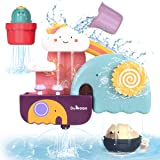 GILOBABY Bath Toys for Toddlers, Baby Bathtub Wall Toy Elephant Waterfall Fill Spin and Flow with Bear and Cactus ,  Kids Age