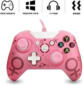 Xbox ONE 有線コントローラー ゲームパッド PC適応 振動機能搭載 Xbox One/Xbox One S/Xbox One X/PC対応 ピンク