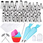 Gyvazla 72 Pieces Cake Decorating Set, Including 50 Icing Tips, 10 Disposable Icing Bags, 2 Reusable Piping Bags, 2...
