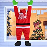 Evoio 50 Inch Outdoor Climbing Hanging Santa Claus for Christmas Decoration/Outdoor Hanging Ornament Decoration (Red3)