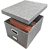 Linen File Storage Box Includes 10 A4 Hanging Files - Collapsible Easy Filing Organizer with Lid - Steel Glides Fit Perfectly