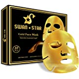SWAN STAR Gold Facial Mask, 24K Gold Face Masks Beauty Collagen Face Sheet Mask Skin Care for Hydrating and Anti Aging, Helps